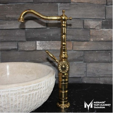 Gold Embroidered Basin Mixer