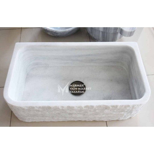Afyon White Marble Explosion Sink