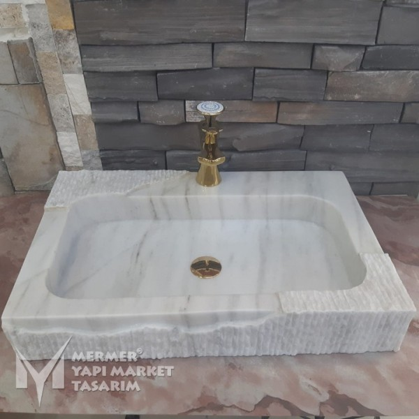 Afyon White Marble Special Design Sink -...