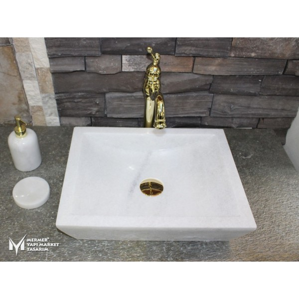 Afyon White Marble Classic Square Sink