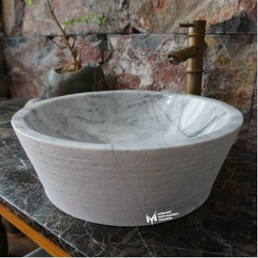 Gray White Marble Scratched Outside Washbasin