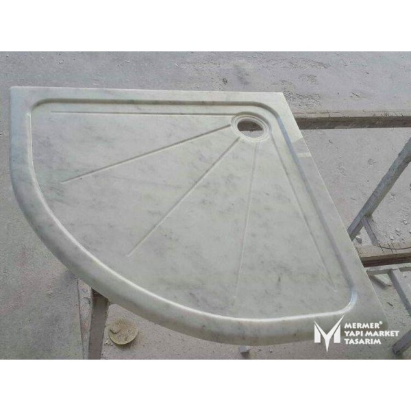 Gray White Marble Canal Design Oval Edge...