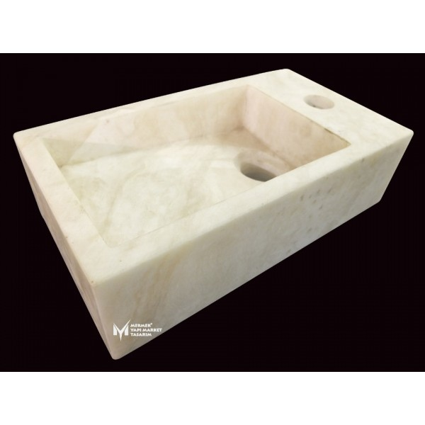 Afyon White Marble Side Faucet Square Si...