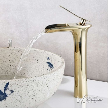 Gold Plated Tall Waterfall Faucet