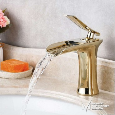 Gold Color Short Waterfall Faucet