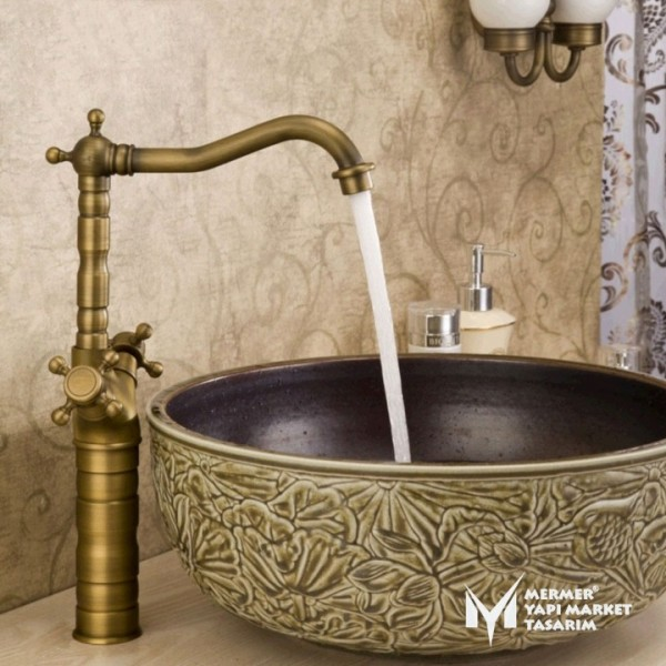 Antique Bowl Basin Mixer - Double Lever