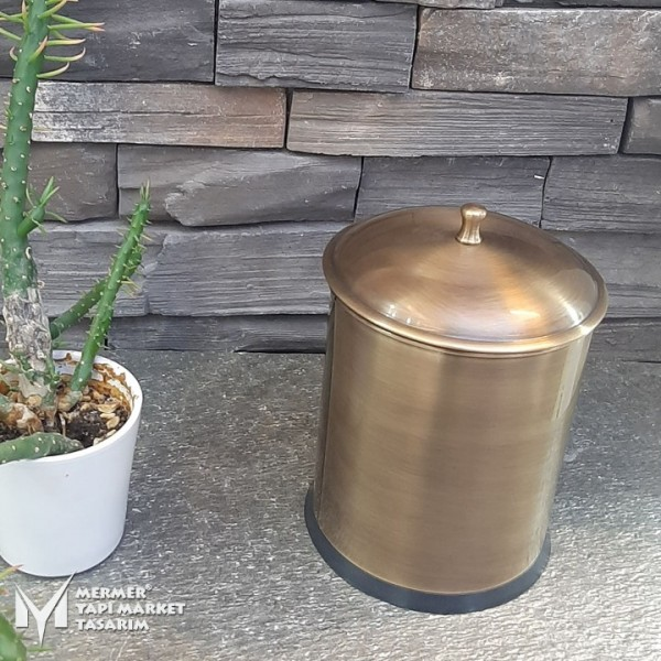 Antique Stainless Steel Trash Can