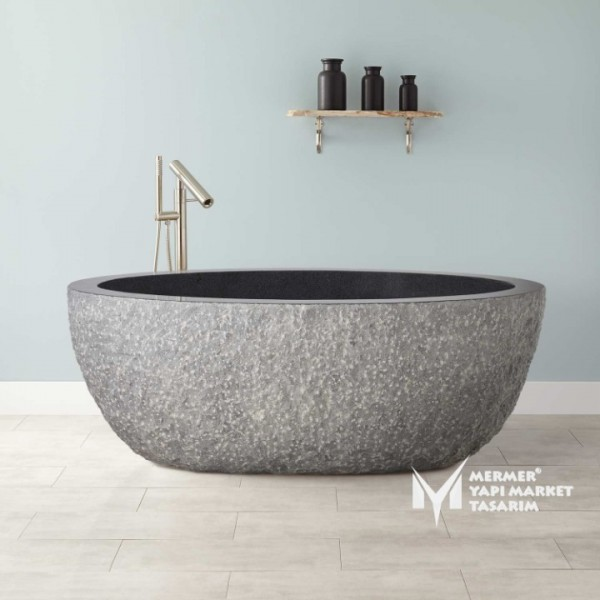 Basalt Black Split Face Outside Bathtub