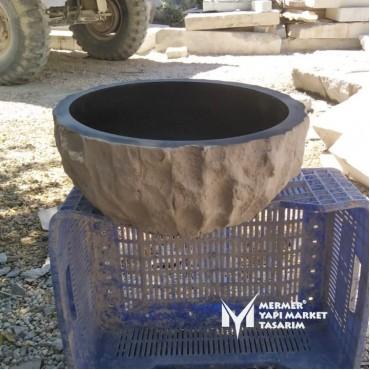 Basalt Black Split Face Outside Round Washbasin