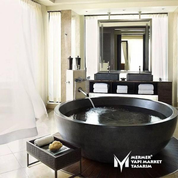 Basalt Black Round Modern Bathtub