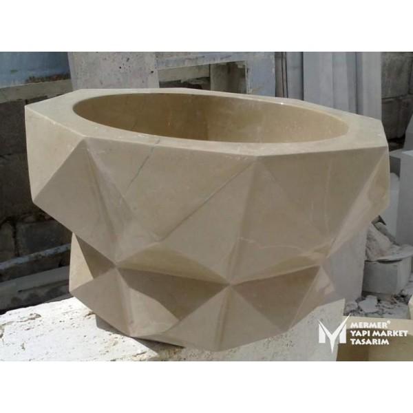 Beige Marble Hexagon Design Hammam Sink