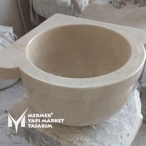 Beige Marble Corner Standard Hammam Sink