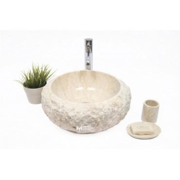 Beige Marble Split Face Outside Deep Oval Washbasin