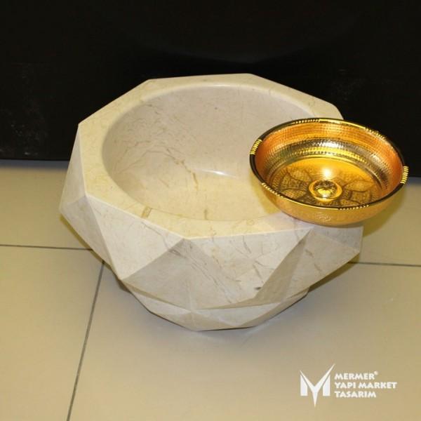 Beige Marble Diamond Cut Round Hammam Si...
