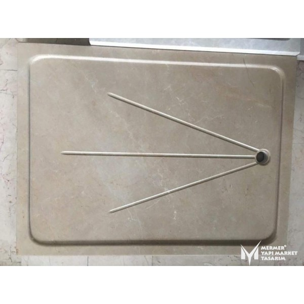Beige Marble Canal Design Shower Tray