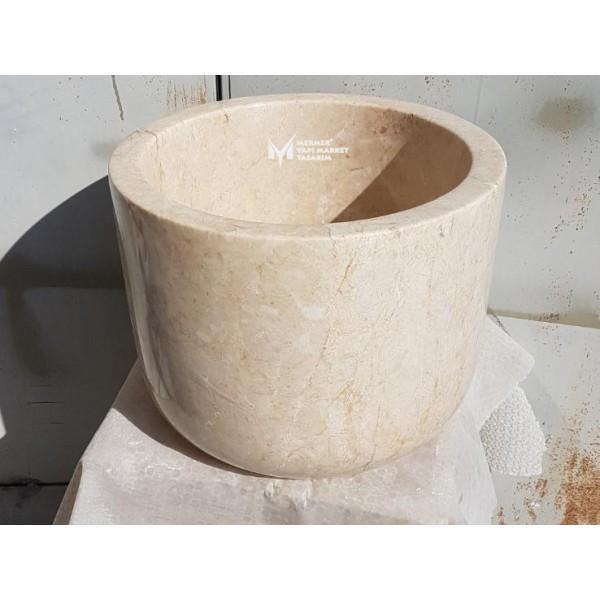 Beige Marble Deep Design Hammam Sink
