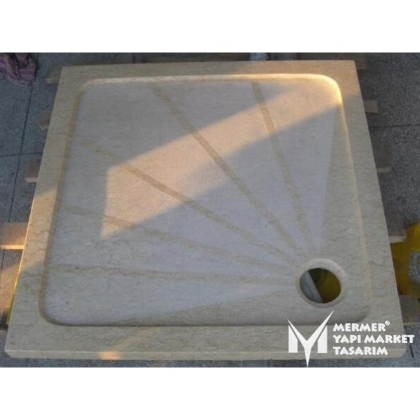Beige Marble Rough Surface Shower Tray