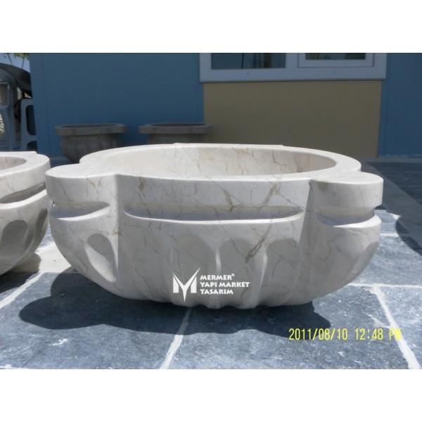 Beige Marble Ottoman Design Hammam Sink