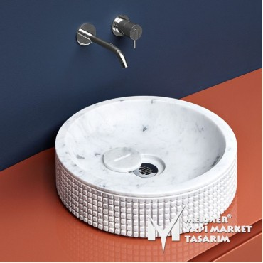 White Marble Special Design Roll Washbasin