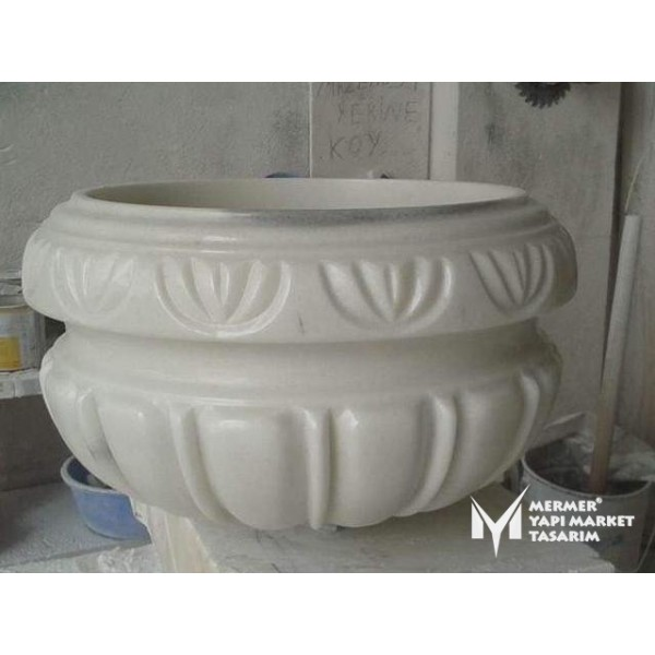 Afyon White Marble Special Design Round ...