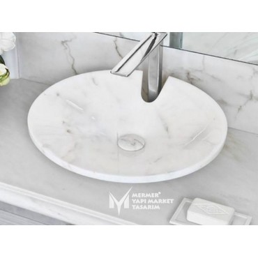 White Marble Washbasin - With Faucet Cavity