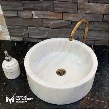 White Marble Deep Cylinder Washbasin