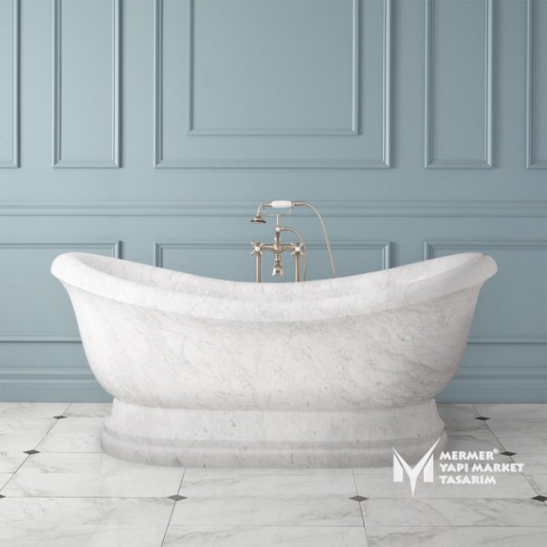 White Gray Marble Footed Design Bathtub