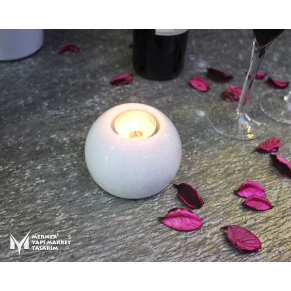 White Marble Sphere Candle Holder