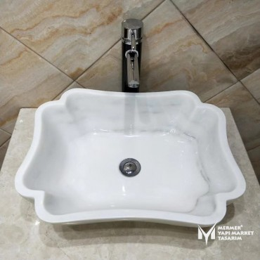 White Marble Twisted Edge Square Sink