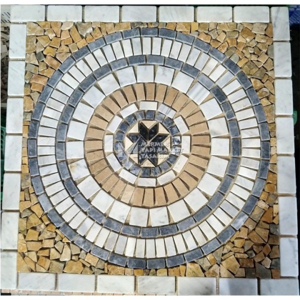 White -  Yellow Mix Marble Mosaic Medall...