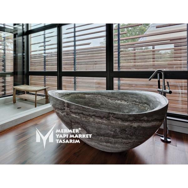 Silver Travertine Ellipse Design Bathtub