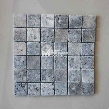 Silver Travertine Tumbled 5x5 Mosaic - Outlet