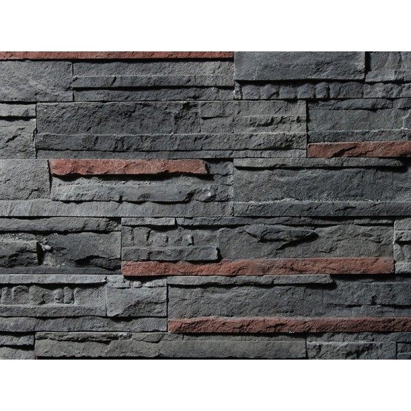 Interlaced Stone Antracite Red Mix