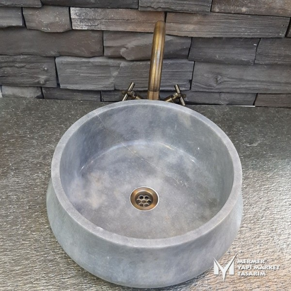 Gray Marble Pear Washbasin - Outlet