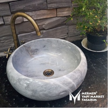 Gray Marble Curved Washbasin