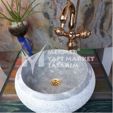 Gray Marble Outside Scratched Round Washbasin