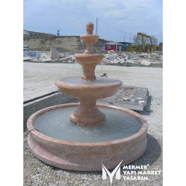 Red Travertine Large Saloon Fountain