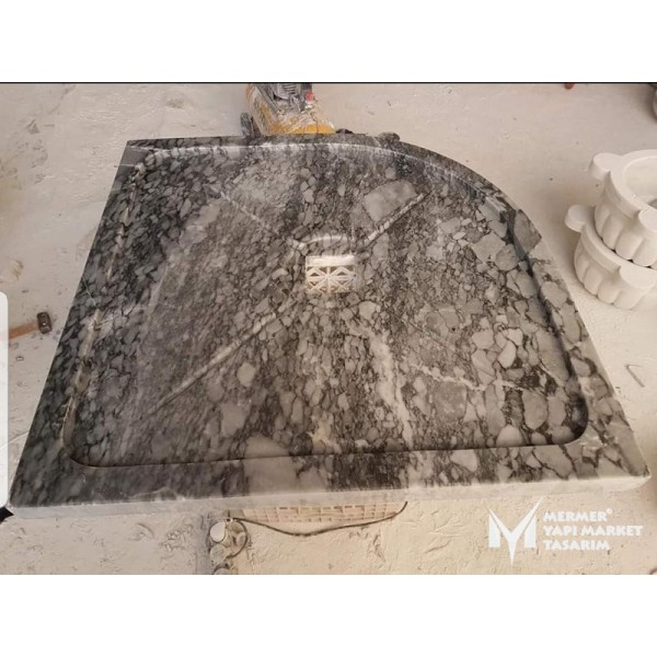 Tiger Skin Marble Oval Edge Shower Tray