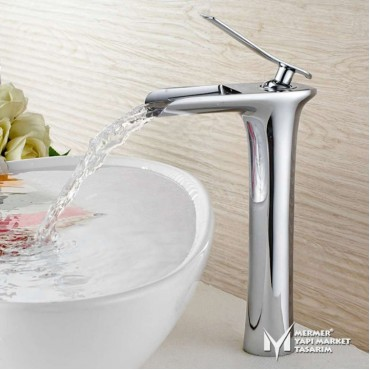 Chrome Color Tall Waterfall Faucet