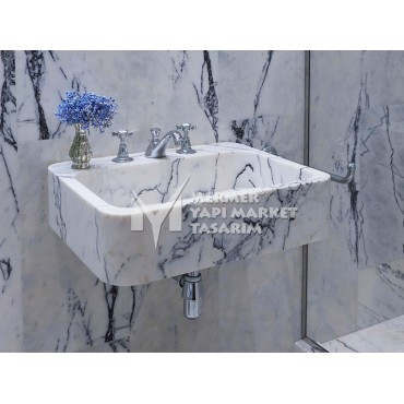 Lilac White Marble Deep Design Square Sink