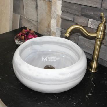 Marmara Horizontal Pajamas Marble Cambered Washbasin