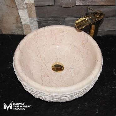 Rosalia Beige Marble Oval Vertical Split Sink