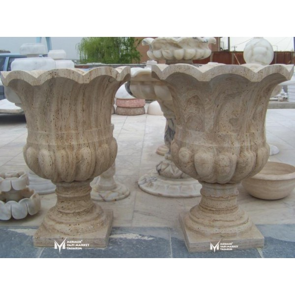 Travertine Frilly Caved Design Footed Fl...