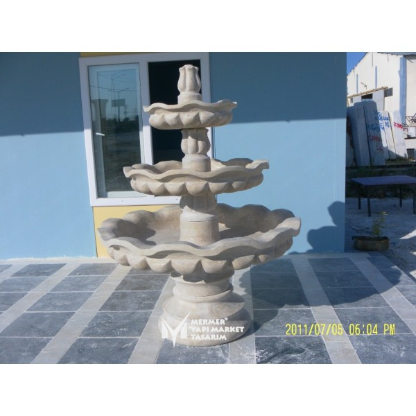 Travertine Pool Fountain - With Large Bo...
