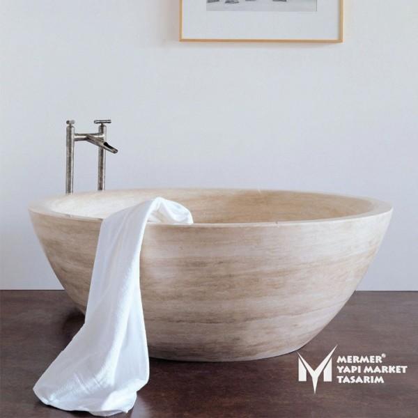 Travertine Round Bathtub