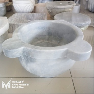 Afyon Cloudy White Marble Standard Hammam Sink - Outlet