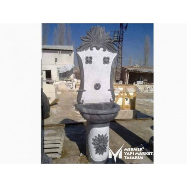 Gray Marble Footed Design Fountain
