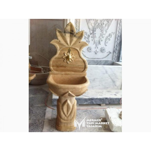 Travertine Embroidered Footed Fountain