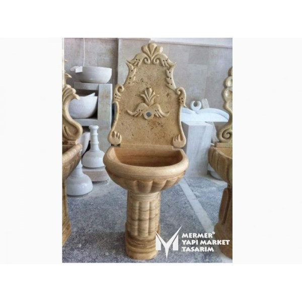 Travertine Melon Sliced Footed Fountain