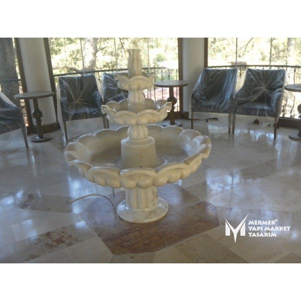Afyon White Marble Melon Sliced Saloon S...